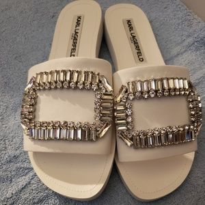 Karl Lagerfeld sandals flats with jewels white new